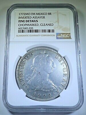 AU374.08 • Buy NGC 1772 Inverted FM Mexico 8 Reales Antique 1700's Spanish Colonial Dollar Coin
