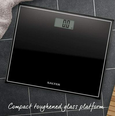£18.99 • Buy Salter Digital Black Bathroom Scales Compact Glass Profile Body Weighing 9207