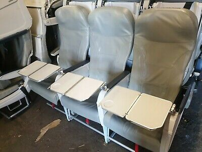 Airbus A320 With Tables Grey Leather Set Of 3 Seats Home Cinema Mancave Aviation • 260£