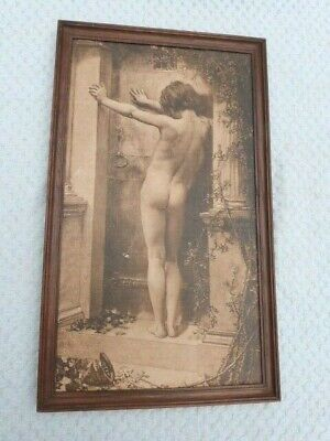 ANTIQUE EARLY 20th CENTURY BOOTS FRAMED SEPIA PRINT OF BOY. • 7.99£