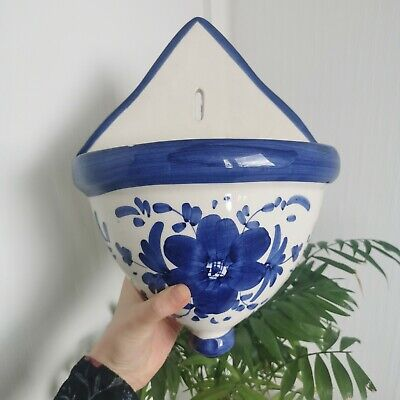 Vintage Ceramic Wall Hanging Planter Indoor Plant Blue And White Pottery Pocket • 14.99£