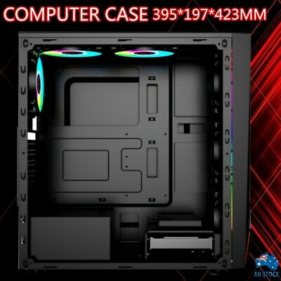 AU53.50 • Buy PC RGB Gaming Computer Case Tempered Glass ATX Tower 395*197*423mm AU