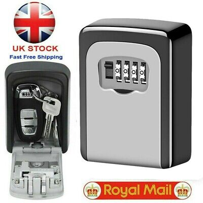 UK Outdoor 4 Digit Storage High Security Wall Mounted Key Safe Box Code Lock New • 9.99£