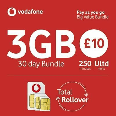 £0.99 • Buy Vodafone Sim Card Pay As You Go For IPhone 5, 5c 5s, 6, 6s 7,8,10 X 12 Pro 3GB
