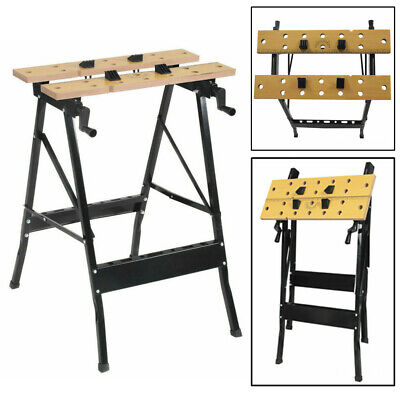 Portable Wooden Foldable Workbench Table Saw Horse With Stand & Clamps UK • 20.98£