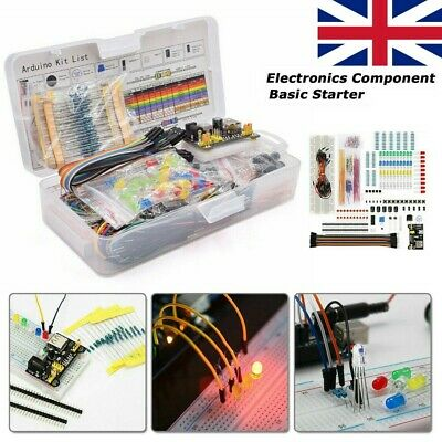 Electronic Component Starter LED Buzzer Resistor Wires Breadboard Transistor Kit • 16.25£