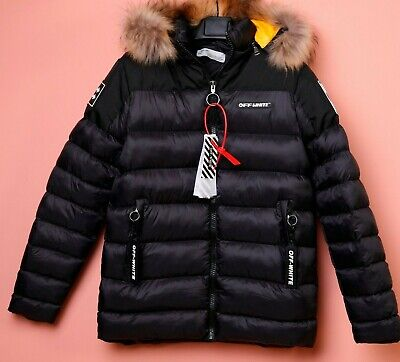 £119.25 • Buy OFF!-White JACKET HOODED FUR WINTER  SIZE L LOGOS ON POCKETS ALL LOGOS