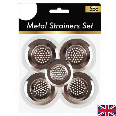 5 STAINLESS SINK BATH PLUG HOLE STRAINER BASIN FILTER DRAINER COVER UTILITY P • 2.69£