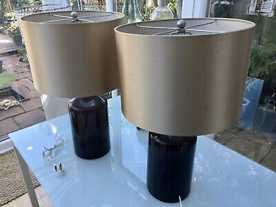 £35 • Buy 2 Gorgeous Large Bedside Lamps With A Glass Base And A Gold Lamp Shade.