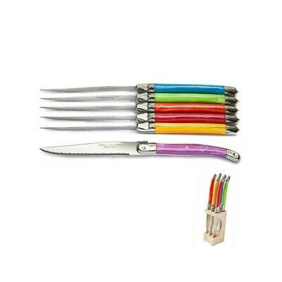 £31.50 • Buy Laguiole Block Of 6 Knives In Bright Spring Colors - Table/Steak Knives
