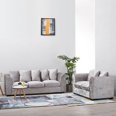 £179.99 • Buy 2, 3 Seater Sliver Crushed Velvet Fabric Sofa Armchair Couch Settee Furniture