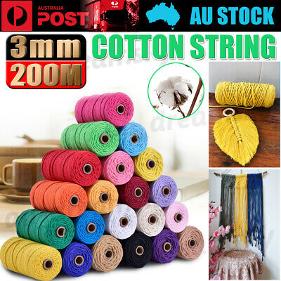 AU10.88 • Buy 3mm 200M Natural Cotton Twisted Cord Craft Macrame Artisan Rope Weaving Wire NEW