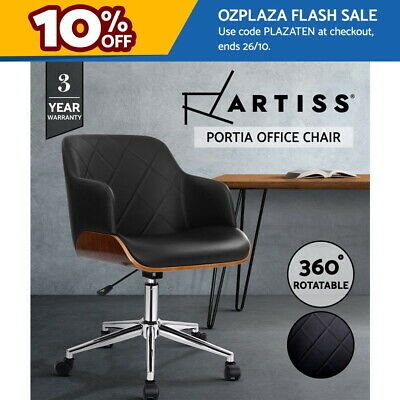 AU149.95 • Buy Artiss Wooden Office Chair Computer PU Leather Desk Chairs Executive Black Wood