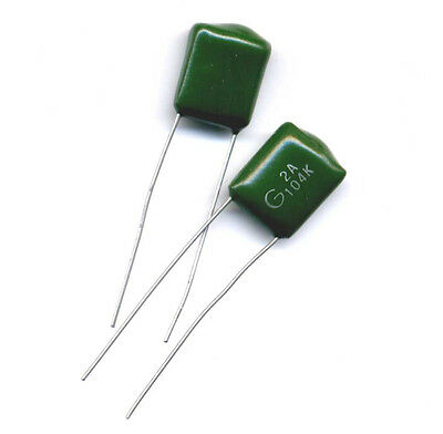$2.99 • Buy 0.1 UF (104) 100 Volts Polyester Mylar Film  Radial Leads - Package Of 10 Pcs