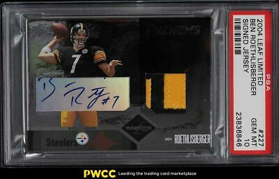 $326 • Buy 2004 Leaf Limited Ben Roethlisberger ROOKIE PATCH AUTO /150 #227 PSA 10 GEM MINT