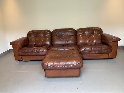 £499 • Buy De Sede Ds 101 3 Seater Brown Leather Reclining Sofa And Footstool