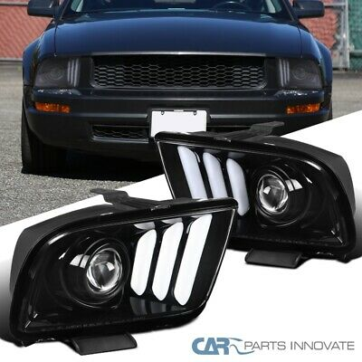 $251.95 • Buy For Ford 05-09 Mustang LED DRL Tube Pearl Black Projector Headlights Head Lamps
