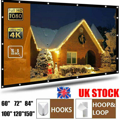 £10.29 • Buy 60-120  Projector Projection Screen Outdoor Home Theater Movie Manual Pull Down