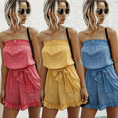 £10.19 • Buy Ladies Jumpsuit Frills Shorts Bandeau Elasticated Summer Casual Womens Playsuit
