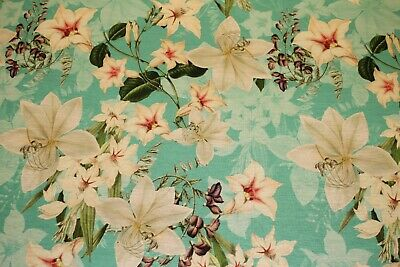 £4.50 • Buy Cotton Jersey - Pastel Green With White Lily Floral Print - Sold By Meter