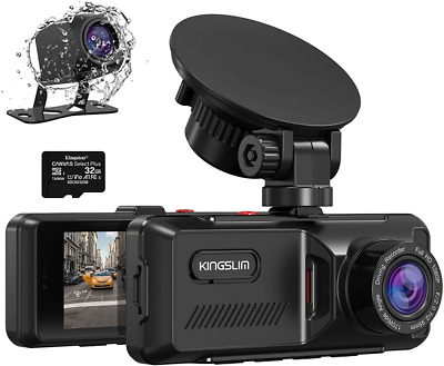 AU152.51 • Buy Kingslim Dash Cam With GPS, 1080P Front And Rear Dual Camera For Cars,...