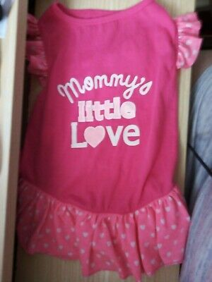 New Dog Dress, In Pink With   Mummy's Little Love   Size Large. • 4.99£
