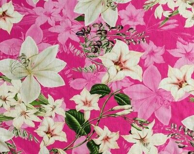 £4.50 • Buy Cotton Jersey - Pink With White Lily Floral Print - Sold By Meter