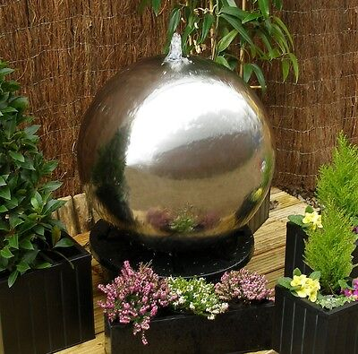 £507.99 • Buy Silver Sphere Water Feature Fountain Cascade Contemporary Stainless Steel Garden