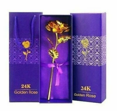 AU9.01 • Buy Rose Dipped In Gold With Gift Box, Stem Real Best Valentine's Day Gift...NEW