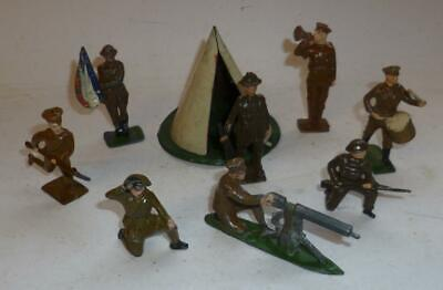 Johillco Vintage Lead Assorted Soldiers In Khaki With Tin Tent  - 1930/40's • 4.99£