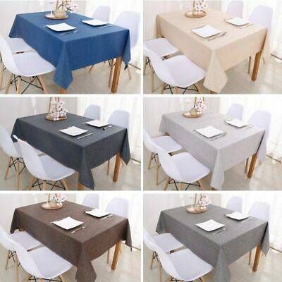 AU127.98 • Buy Decorative Cotton Linen Table Cloths Rectangular Tablecloths Dining Solid Cover
