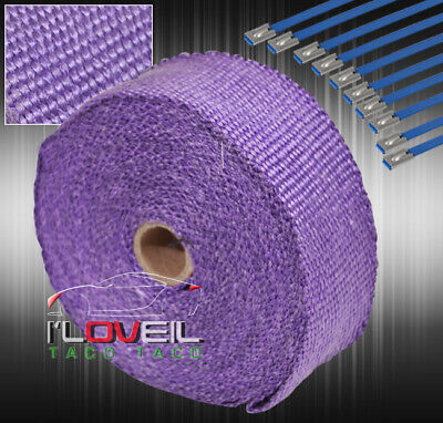 $20.99 • Buy 30 Feet Thermal High Heat Shield Wrap Exhaust Header Intake Turbo+Zip Tie Purple