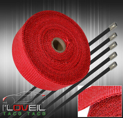 $22.99 • Buy 30Ftx2 X1.5mm Heat Wrap Sheild Cover Exhaust Down Pipe Turbo Super Charger Red