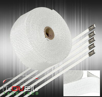 $19.99 • Buy 30Ft X 2  X 1.5mm Aluminum Heat Wrap Cover Exhaust Piping Catback Header White