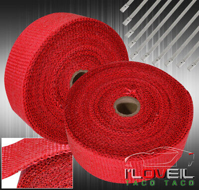 $36.99 • Buy 10M Thermal Shield Wrap Header Down Test Down Pipe Catback Muffler Exhaust Red