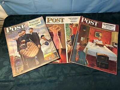 "$ CDN32.49 • Buy ORIG. NORMAN ROCKWELL SATURDAY EVENING POST 1949 ""Tough Call"" Cover & 2 Others!!"