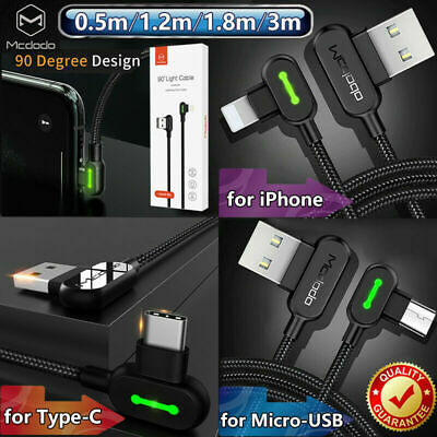 AU14.99 • Buy MCDODO Smart Fast Charging Sync Data Cable For IPhone Type-C Micro-USB LED Elbow