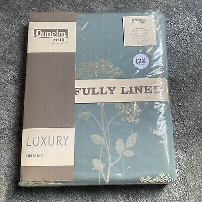 £22 • Buy Dunelm Mill Fully Lined Floral Curtains 112cm X 229cm Verity Duckegg
