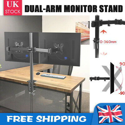 £15.79 • Buy Fully Adjustable Double Monitor Mounts Bracket Dual Arm Desk PC Stands 10 - 27
