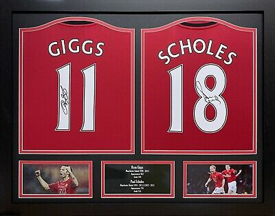 £399.99 • Buy Giggs & Scholes  2 Signed Manchester United Football Shirts Display Proof Coa