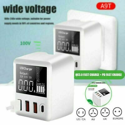 AU23.92 • Buy QC 3.0 Fast Quick Charge USB 4-Port Hub Wall Charger Power Adapter With Display