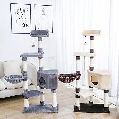 AU79.90 • Buy PAWZ Road Cat Scratching Post Tree Cat Scratcher Tower Condo House Furniture Bed