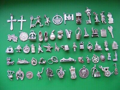 £6.99 • Buy Q Vintage Sterling Silver Charms Charm Car Flag Clog Horse Harp Key Bible Boot