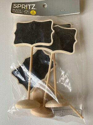 £4.95 • Buy 4 Wooden Blackboard Place Cards Target New (one Damaged)