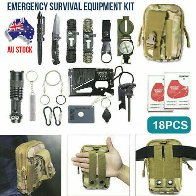 AU30.99 • Buy 18Pcs Emergency Survival Equipment Kit Outdoor Tactical SOS Tool Hiking Camping