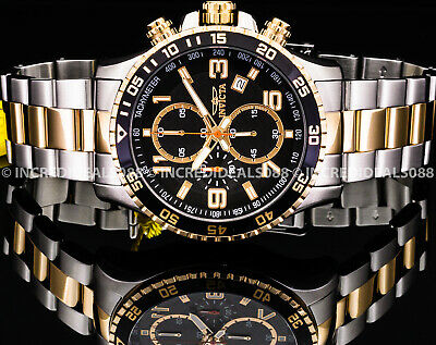 $ CDN90.68 • Buy Invicta Men SPECIALTY CHRONOGRAPH Black Dial 18Kt Gold Silver TACHYMETER Watch
