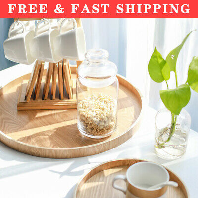 £11.48 • Buy Round Wooden Plate Serving Tray Natural Wood Tea Food Server Dishes Platter UK