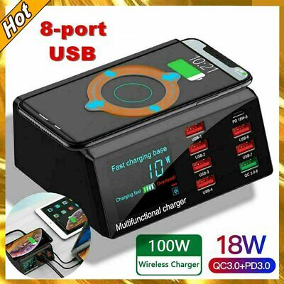 AU45.89 • Buy 8 USB Ports Wireless Charger Station 18W PD QC 3.0 Fast Charging Dock Charger