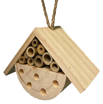 £5.75 • Buy Hanging Wooden Bee Bug & Insect House Hive Box Natural Garden Wood Shelter 9006
