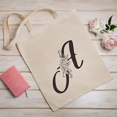 £5.99 • Buy Personalised Initial TOTE BAG Rose Bag For Life Alphabet Mother's Day Gift